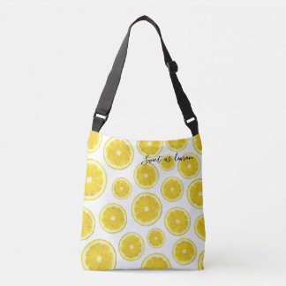 Yellow fresh lemon slice in modern design bag