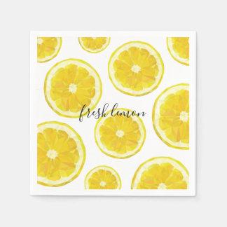 Yellow fresh lemon slice napkins disposable serviette