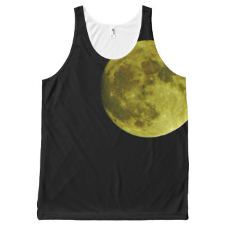 Yellow full moon black night sky All-Over print singlet