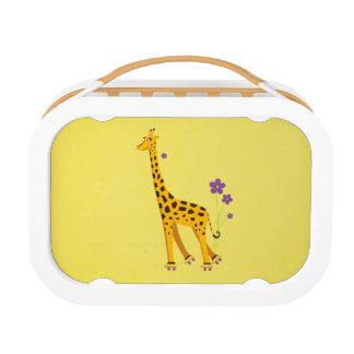 Yellow Funny Cartoon Giraffe Roller Skating Lunch Box