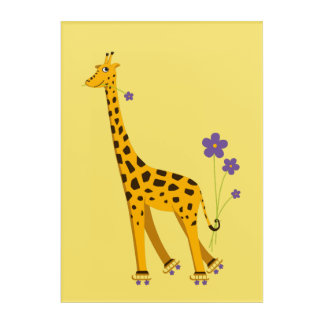 Yellow Funny Roller Skating Giraffe Acrylic Wall Art