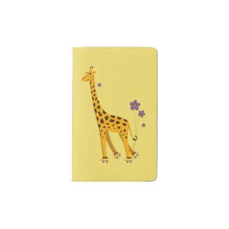 Yellow Funny Roller Skating Giraffe Pocket Moleskine Notebook