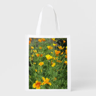 Yellow garden flowers reusable grocery bag