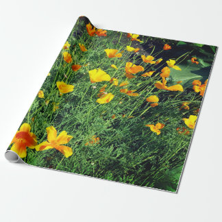 Yellow garden flowers wrapping paper
