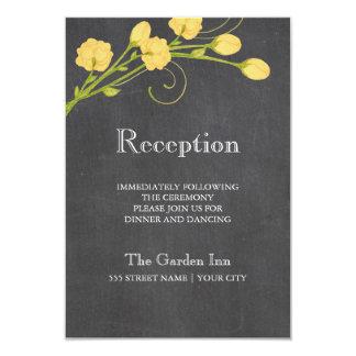 Yellow garden roses chalkboard reception card 9 cm x 13 cm invitation card