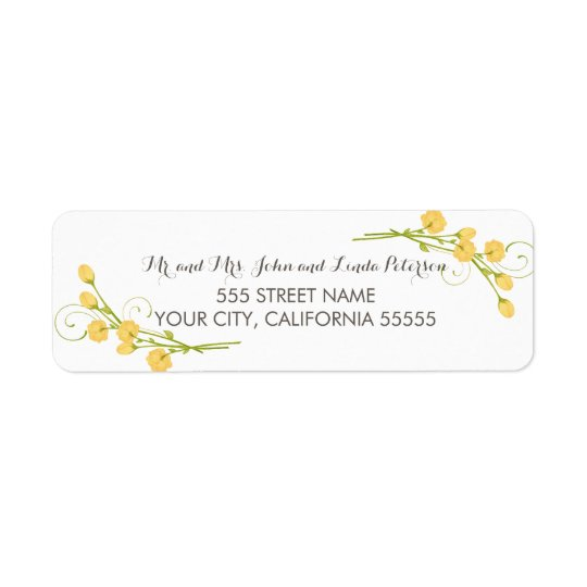 Yellow Garden Roses Return Address Labels