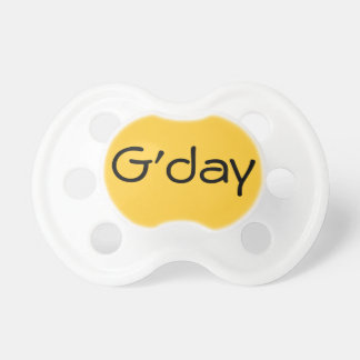 Yellow G'day Australian Hello Baby Dummy Binkie Pacifiers