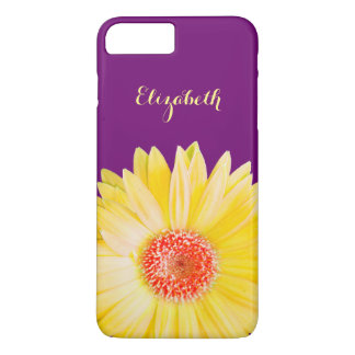 Yellow Gerber Daisy on Dark Purple Personalized iPhone 8 Plus/7 Plus Case