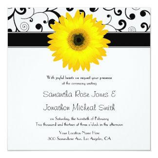 Yellow Gerbera Daisy Black Scroll Design Wedding 13 Cm X 13 Cm Square Invitation Card