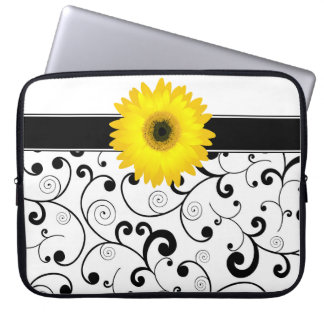 Yellow Gerbera Daisy on Black & White Scroll Laptop Sleeves