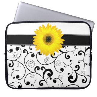 Yellow Gerbera Daisy on Black & White Scroll Laptop Sleeves