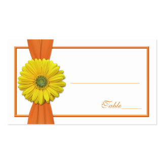 Yellow Gerbera Daisy Orange Wedding Place Card Pack Of Standard Business Cards