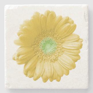 Yellow gerbera daisy stone beverage coaster