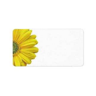 Yellow Gerbera Daisy Wedding Blank Address Labels