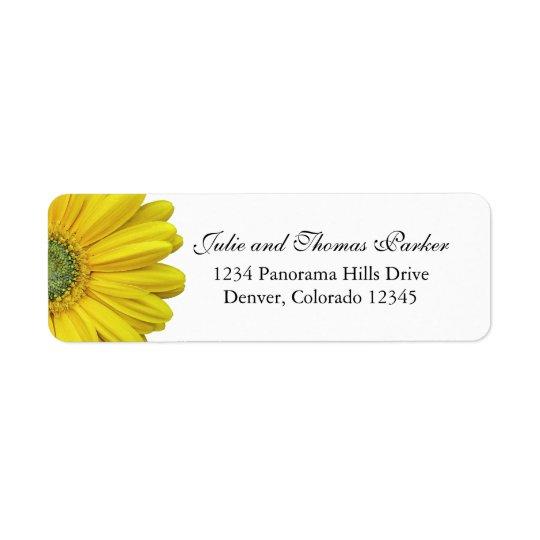 Yellow Gerbera Daisy Wedding Return Address Labels