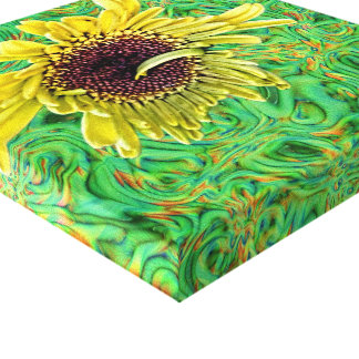 Yellow Gerbera with a Curl Abstract Minimalism Gallery Wrapped Canvas