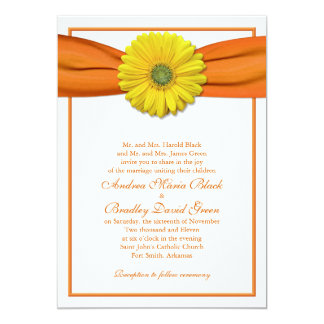 Yellow Gerbera with Orange Ribbon Invitation