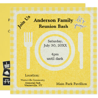 Yellow Gingham and Pictogram Picnic Invitation