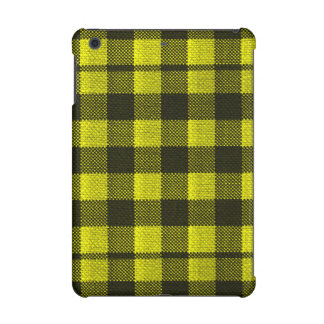 Yellow Gingham Checkered Pattern Burlap Look