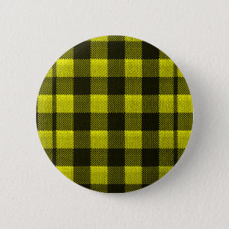 Yellow Gingham Checkered Pattern Burlap Look 6 Cm Round Badge