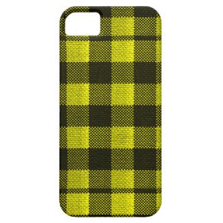 Yellow Gingham Checkered Pattern Burlap Look Barely There iPhone 5 Case