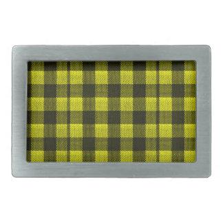 Yellow Gingham Checkered Pattern Burlap Look Belt Buckle
