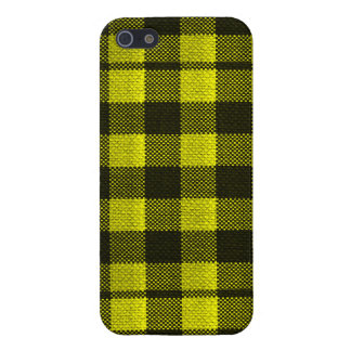 Yellow Gingham Checkered Pattern Burlap Look Case For The iPhone 5