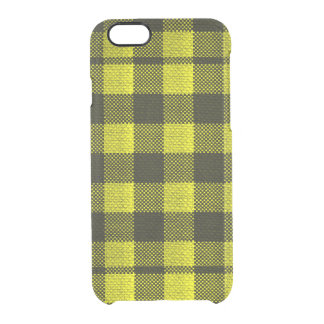 Yellow Gingham Checkered Pattern Burlap Look Clear iPhone 6/6S Case