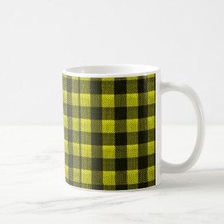 Yellow Gingham Checkered Pattern Burlap Look Coffee Mug