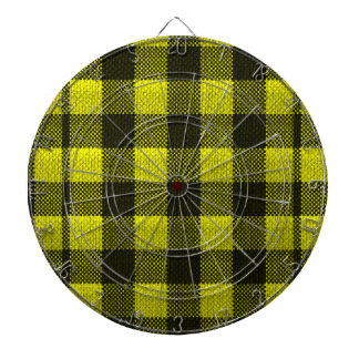 Yellow Gingham Checkered Pattern Burlap Look Dartboard