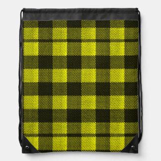 Yellow Gingham Checkered Pattern Burlap Look Drawstring Bag