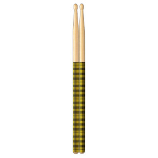 Yellow Gingham Checkered Pattern Burlap Look Drumsticks