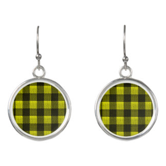 Yellow Gingham Checkered Pattern Burlap Look Earrings