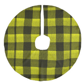 Yellow Gingham Checkered Pattern Burlap Look Faux Linen Tree Skirt