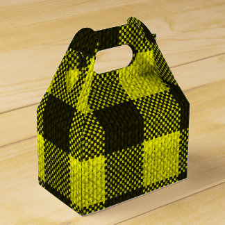 Yellow Gingham Checkered Pattern Burlap Look Favour Box