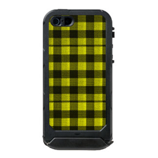 Yellow Gingham Checkered Pattern Burlap Look Incipio ATLAS ID™ iPhone 5 Case