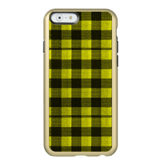 Yellow Gingham Checkered Pattern Burlap Look Incipio Feather® Shine iPhone 6 Case