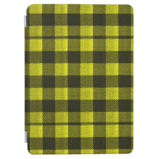 Yellow Gingham Checkered Pattern Burlap Look iPad Air Cover