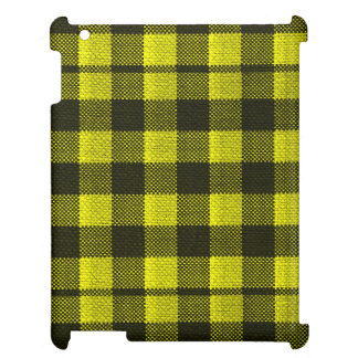 Yellow Gingham Checkered Pattern Burlap Look iPad Cases