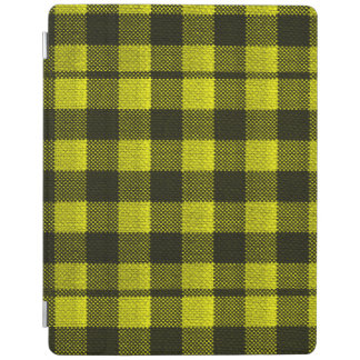 Yellow Gingham Checkered Pattern Burlap Look iPad Cover