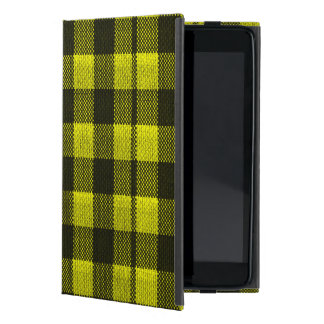 Yellow Gingham Checkered Pattern Burlap Look iPad Mini Cover