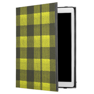 "Yellow Gingham Checkered Pattern Burlap Look iPad Pro 12.9"" Case"
