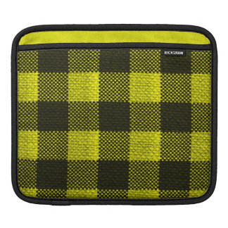 Yellow Gingham Checkered Pattern Burlap Look iPad Sleeve