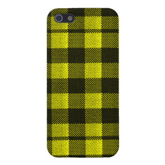 Yellow Gingham Checkered Pattern Burlap Look iPhone 5 Cover