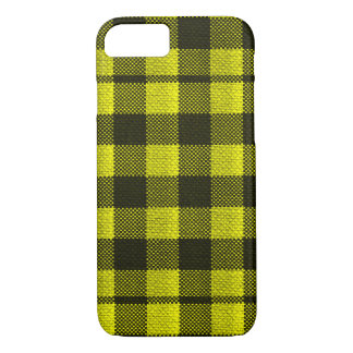 Yellow Gingham Checkered Pattern Burlap Look iPhone 8/7 Case