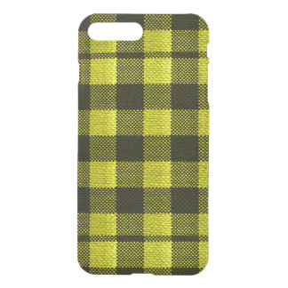 Yellow Gingham Checkered Pattern Burlap Look iPhone 8 Plus/7 Plus Case