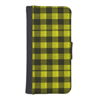 Yellow Gingham Checkered Pattern Burlap Look iPhone SE/5/5s Wallet Case