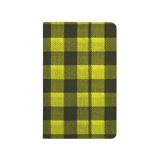 Yellow Gingham Checkered Pattern Burlap Look Journal