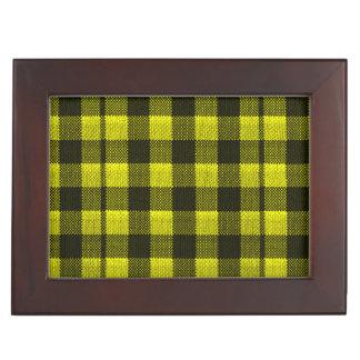 Yellow Gingham Checkered Pattern Burlap Look Keepsake Box