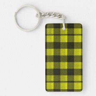 Yellow Gingham Checkered Pattern Burlap Look Key Ring